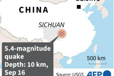 Map locating a deadly quake in Sichuan province on Thursday.