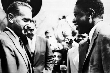 Hammarskjold (L) meets with the head of the State of Katanga Moise Tshombe in August 1961