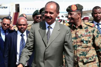Eritrean President Isaias Afwerki, pictured on a visit to Khartoum in September 2019, has been in power for almost three decades