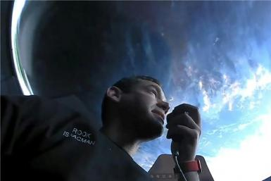 Mission commander Jared Isaacman, an American billionaire, on board SpaceX's Dragon capsule in orbit around the Earth