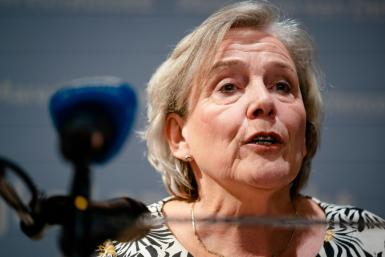 Outgoing defense minister Ank Bijleveld speaks during a statement at her ministry after her party leadership held crisis consultations, in The Hague, on September 17, 2021.Dutch Defence Minister Ank Bijleveld has resigned, over her handling of the Afghani