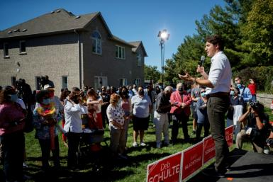 Canadian Prime Minister Justin Trudeau, fighting for his political survival, makes a final pitch to voters in Maple, Canada ahead of Monday's election