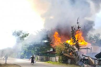 In the Namg Kar village, scores of homes have been razed by the military, local residents said