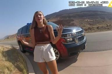 This August 12, 2021, still image from a police bodycam released by the Moab City Police Department in Utah, shows Gabrielle Petito speaking with police as they responded to an altercation between Petito and her boyfriend, Brian Laundrie