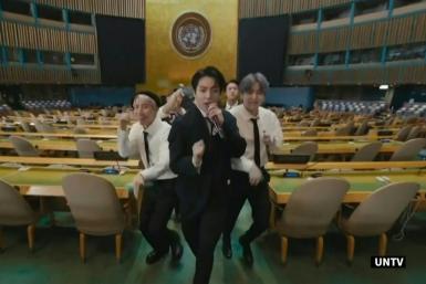 """After giving remarks at the UN, Korean pop sensation BTS rolled out a pre-recorded video of their track """"Permission to Dance,"""" flaunting their moves throughout the General Assembly and on the world body's lawn"""