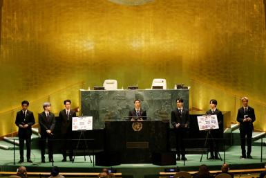 Members of South Korean boy band BTS speak in the UN General Assembly hall