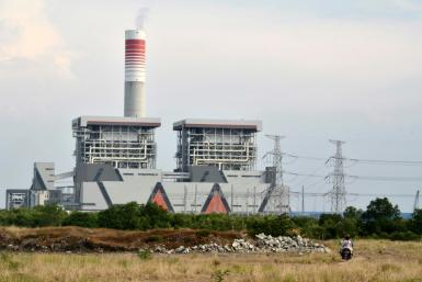 A Chinese-backed coal plant in Serang, Indonesia seen in October 2020