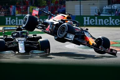 Mercedes' Lewis Hamilton (left) and Red Bull's Max Verstappen collided during the Italian Grand Prix in Monza