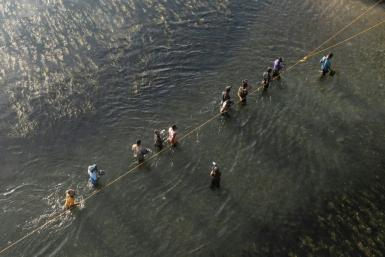 Haitian migrants to the United States cross the Rio Grande river from texas back to mexico to get food and water.