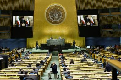 Iran President Ebrahim Raisi remotely addresses the 76th Session of the UN General Assembly via video-link on September 21, 2021 in New York