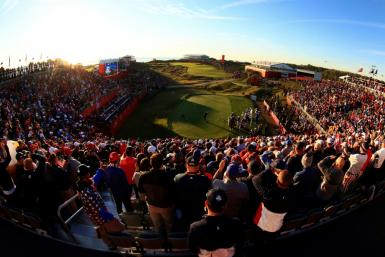 American Collin Morikawa tees off before an impressive crowd at Whistling Straits in the first session of the 43rd Ryder Cup