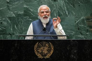 India's Prime Minister Narendra Modi addresses the 76th session of the United Nations General Assembly at UN headquarters on September 25, 2021 in New York