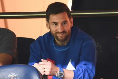 The injured Lionel Messi watched PSG's win over Montpellier from the stand