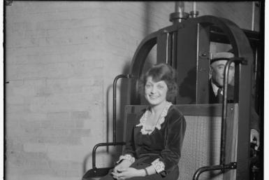 This 1905 image courtesy of the Library of Congress, shows Mable Talbot, a Senate secretary, riding the subway