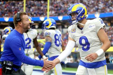 Los Angeles Rams head coach Sean McVay congratulates quarterback Matthew Stafford during the team's victory over Tampa Bay on Sunday