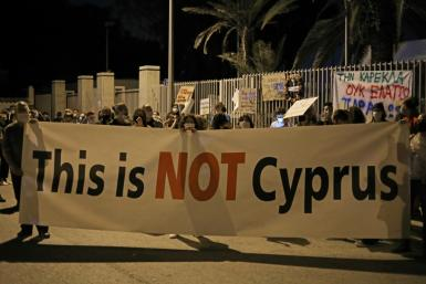Cypriots protest against corruption, including within the 'golden passport' scheme, in October last year