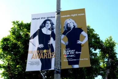 Signage advertising the Golden Globes hosted by Tina Fey and Amy Poehler, in February 2021