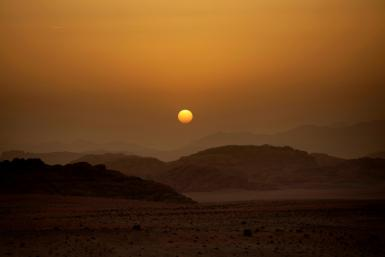 The new airline aims to bring tourists to southern Jordan including to the desert wilderness of Wadi Rum, pictured at sunset