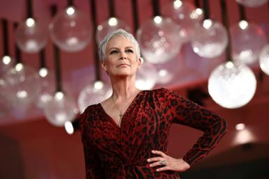 This file photo from September 8, 2021 shows actress Jamie Lee Curtis at an out-of-competition screening of 'Halloween Kills' at the Venice Film Festival in Italy
