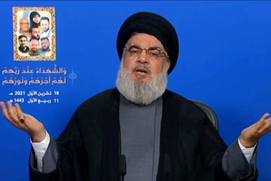An image grab from Hezbollah's al-Manar TV on October 18, 2021, shows Hassan Nasrallah, the head of the Lebanese Shiite movement Hezbollah, delivering a televised speech from an undisclosed location