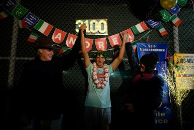 Andrea Marcato of Italy poses after winning the 'Self-Transcendence 3100 Mile Race', the world's longest certified foot race, in the Queens borough of New York on October 17, 2021