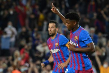 Ansu Fati (R) is leading the next generation of young Barcelona talents.