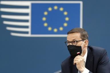 """Polish PM Mateusz Morawiecki warned of """"a very dangerous phenomenon whereby various European Union institutions usurp powers they do not have under the treaties and impose their will on member states"""""""