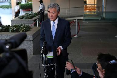 US Special Representative for North Korea Policy Sung Kim speaks to reporters outside of the State Department