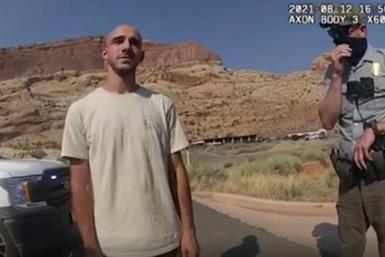 Brian Laundrie, in an image from a police bodycam released by the Moab City Police Department in Utah