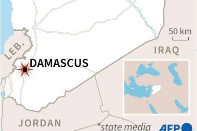 Map locating Damascus in Syria where a bomb hit a bus carrying troops on Wednesday, according to state media