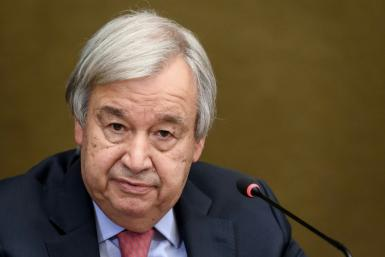 United Nations Secretary-General Antonio Guterres, pictured in September 2021, said the rights of women are being violated or eliminated altogether in Myanmar, Ethiopia, Yemen and other parts of the world.