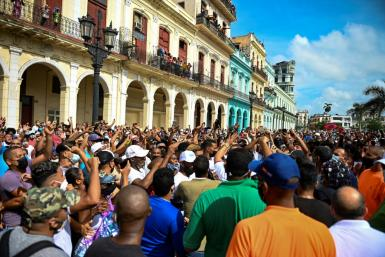 This file photo from July 11, 2021 shows an anti-goverment rally in Havana, one of many that rocked Cuba that day