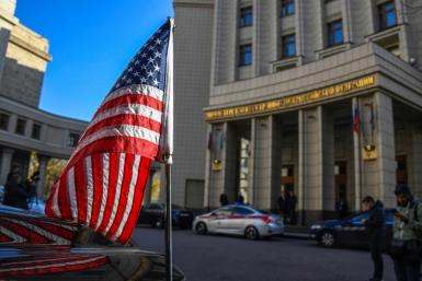 A US Embassy vehicle was parked before the Foreign Ministry building in Moscow as US Under Secretary of State Victoria Nuland arrived on Oct. 12, 2021, for talks on a diplomatic staffing dispute and other matters