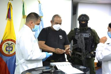 Colombia's most-wanted drug lord and head of the Gulf Clan, Dairo Antonio Usuga, is seen in Bogota after his capture, in a photo released by the Colombian Police on October 24, 2021