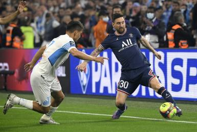 Lionel Messi in action for PSG against Marseille