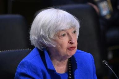 This file photo taken on September 28, 2021 shows US Treasury Secretary Janet Yellen speaking during a congressional hearing in Washington; she is predicting a return to more moderate inflation rates by mid- to late 2022