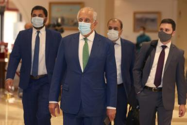 Zalmay Khalilzad, seen in Doha on August 10, 2021, has blamed former Afghan president Ashraf Ghani for not agreeing to share power with the Taliban