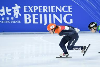 Dutch skater Suzanne Schulting competes at a test event in Beijing
