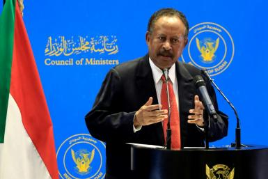 Sudanese Prime Minister Abdalla Hamdok holds a press conference on August 15, 2021 at the Council of Ministers in Khartoum