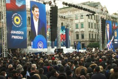 IMAGES Tens of thousands gather in Georgia for a ruling party campaign rally, ahead of elections to be held after the arrest of ex-president and opposition leader Mikheil Saakashvili. Georgia's president from 2004-2013, Saakashvili was arrested and impris