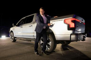 Jim Farley, CEO of Ford Motor Company, shown at the May unveiling of the new all-electric F-150 Lightning