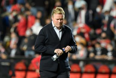 All over: Ronald Koeman during his final match in charge as Barcelona coach, a 1-0 loss at Rayo Vallecano on Wednesday