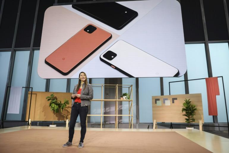 Sabrina Ellis, Google vice president of product management, introduces the new Google Pixel 4 smartphone during a Google launch event on October 15