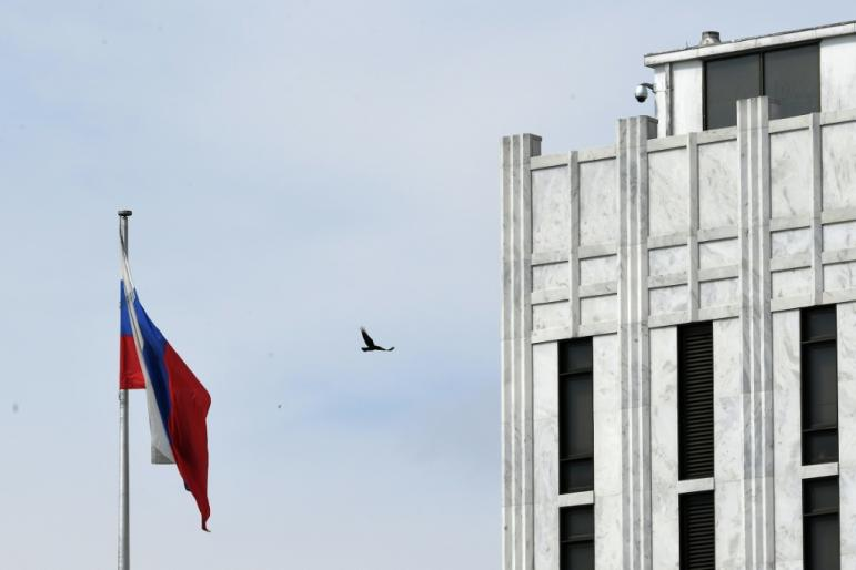 The United States has expelled 10 officials from the Russian embassy in Washington (pictured), some of whom are accused of being members of Moscow's intelligence services.