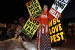 "Members of the Westboro Baptist church protest the screening of ""Red State"" at the Sundance Film Festival in Park City, Utah"