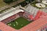 An aerial view shows the collapsed roof of the Grolsche Veste soccer stadium of FC Twente Enschede.