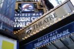 "The marquee for the Broadway show ""Spider-Man: Turn Off The Dark"" is seen outside the Foxwoods Theatre in New York"