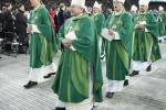 The clergy leaves after the Eucharist led by Pope Benedict XVI at the Olympic stadium in Berlin