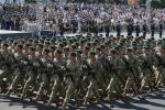 Soldiers march during Ukraine's independence day