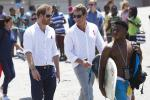 Britain's Prince Harry speaks with Tom Hewitt